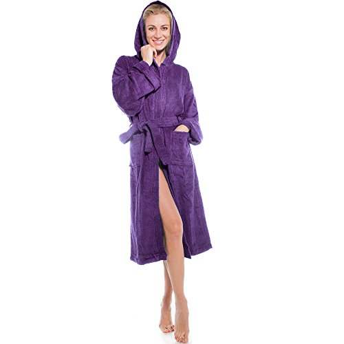 aqua-textil Föhr Albornoz Capucha Uni Largo Bolsillos de Parche Costuras Decorativas Señoras Caballeros Unisex 100% Algodón XS Morado