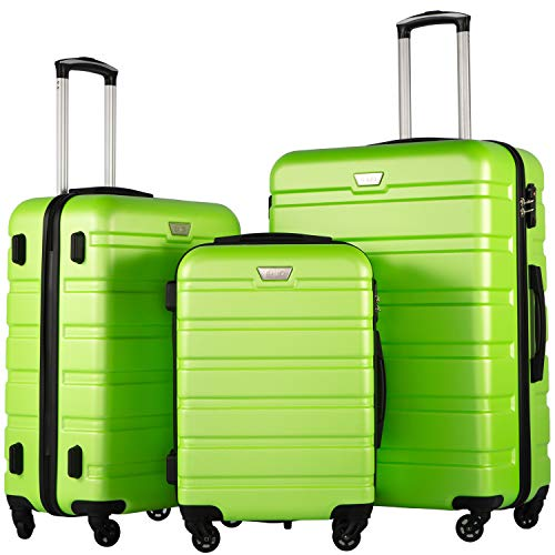 COOLIFE Suitcase Trolley Carry On Hand Cabin Luggage Hard Shell Travel Bag Lightweight 2 Year Warranty Durable 4 Spinner Wheels (Green, 3 Pcs Set)