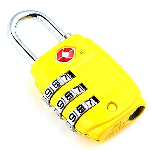 DonDon candado de Viaje TSA Travel Sentry Approved/candado de Equipaje de Color Amarillo