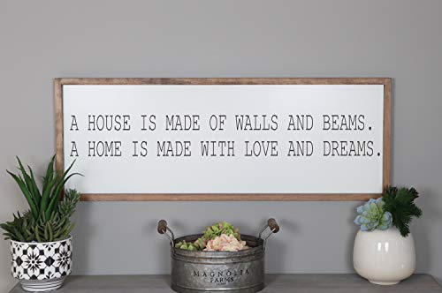 Ced454sy Panneau en bois encadré « A House Is Made With Walls And Beams A Home Is Made With Love And Dreams »
