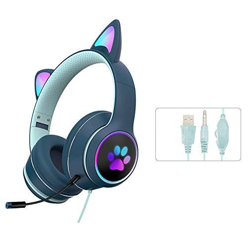 Gaming-Headset, Katzenohr-Kopfhörer mit RGB-LED-Licht, Mikrofon, Stereo-Sound, leuchtende Over-Ear-Gaming-Headsets für Kinder und Erwachsene