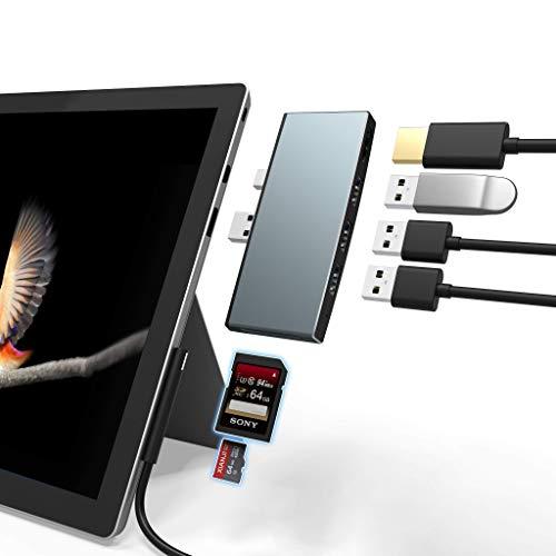 Cateck Docking Station Hub USB Surface Pro 4/5/6 con 4K HDMI, adattatore hub USB 3.0, 3 Porte USB 3.0, con Slot per schede SD (HC) e Lettore di schede TF per Microsoft Surface Pro 4/5/6, Aluminium