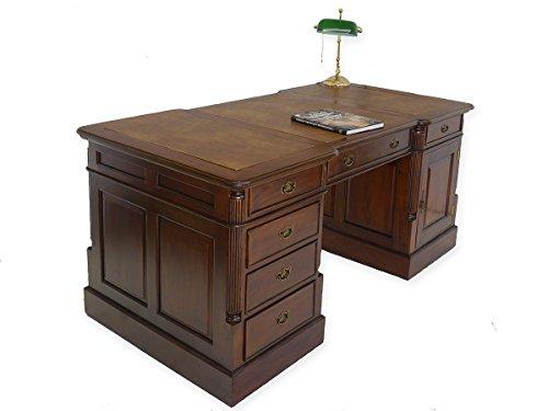 Antike Fundgrube Schreibtisch Partnerdesk aus Massivholz im Nussbaumfarbton (5386)