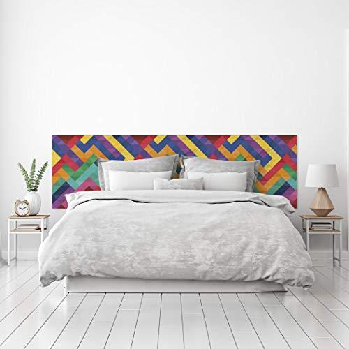 MEGADECOR Cabecero Cama PVC Decorativo Económico Diseño Abstracto Mosaico Teselas Multicolor Varias Medidas (200 cm x 60 cm)
