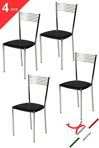 t m c s Tommychairs - Set 4 sedie Moderne Elegance per Cucina e Sala da Pranzo, Struttura in Acciaio Cromato e Seduta Imbottita e Rivestita in Pelle Artificiale Colore Nero