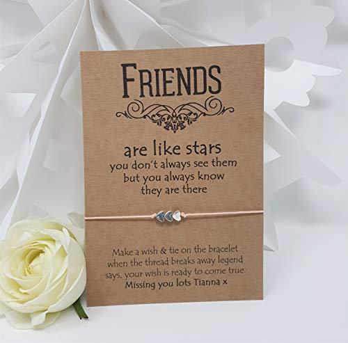 Treasured Forever Wish Bracelet Card String Charm Friends are Like Stars Friendship Inspirational (Kraft/Brown)