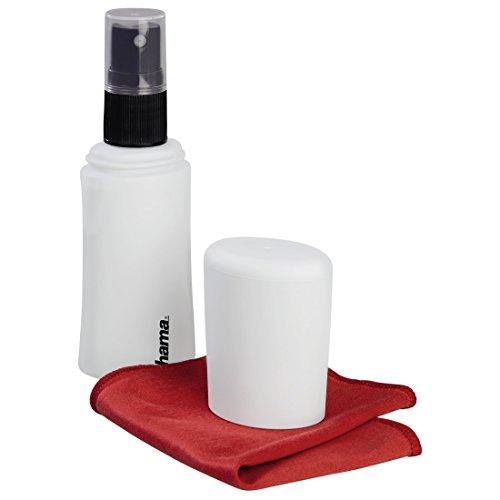 Hama Bildschirmreiniger Set mit Reinigungsspray und Microfasertuch (45ml, Display-Reiniger für Tablet- und Smartphone Touchscreens, Laptops, PCs, TVs, Screen-Cleaner Reinigungsset) weiß