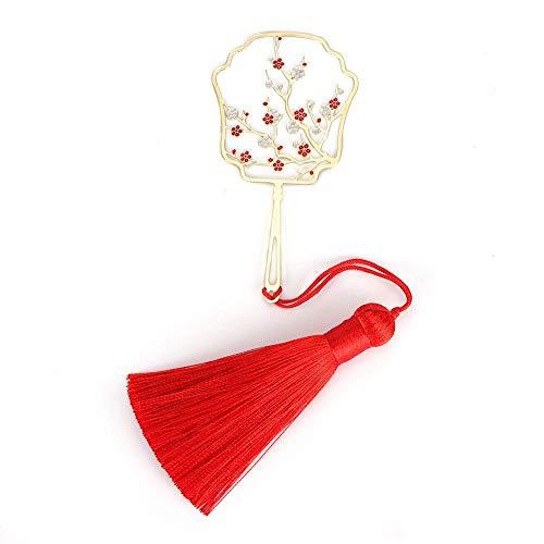 Atyhao - Segnalibro creativo, classico, a forma di nappa, in ottone, stile cinese classico, delicato segnalibro per studenti, ufficio, da collezione Fiore di susina