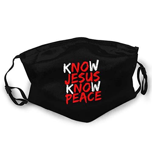 Máscara facial Know Jesus Know Paz, unisex, tela reutilizable, ajustable, resistente al viento, a prueba de polvo, protección facial, decoración pasamontañas