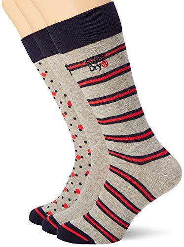 Superdry Herren Boxed City Triple Pack Socken, Mehrfarbig (Grey/Red/Dk Navy Pattern U6f), Medium/Large