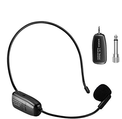 ワイヤレスマイク2.4G ヘッドセット ピンマイク XIAOKOA 50m安定伝送 自動ペア 音量調整 耳掛式 ポータブル 軽量 ステージポータブル拡声器 高音質 拡声器対応 アンプ対応 3.5mmモノミニプラグ 12ヶ月保証 技適認証済 (日本語説明書付き)