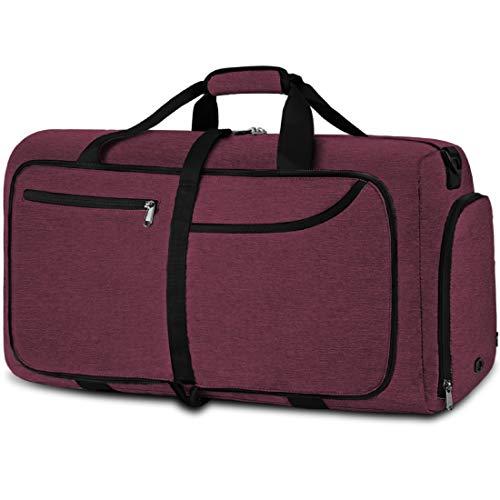 NEWHEY Reisetasche Groß 40L 65L Faltbare Reisetaschen Leichte Sporttasche für männer mit Schuhfach für Weekender Herren Damen Duffel Taschen (Red-65L)
