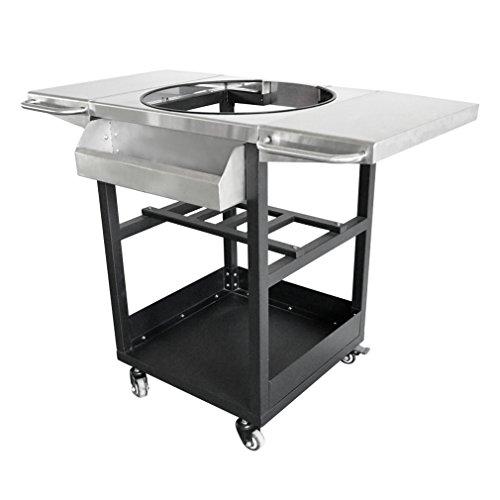 onlyfire Universal Porcelain Steel Table Top Grill Cart - Compatible with Large Big Green Egg, Kamado Joe Classic, Kamado Joe Classic II, Pit Boss K22, Louisiana Grills K22, and Other Kamado Models