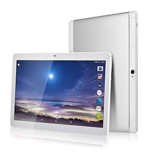 Huashetrade 10 inch Android Tablet, Android 7.0 Nuogat, 64GB ROM, 2MP+8MP Cameras, IPS Display, Wi-Fi, BT4.0 (Silver)