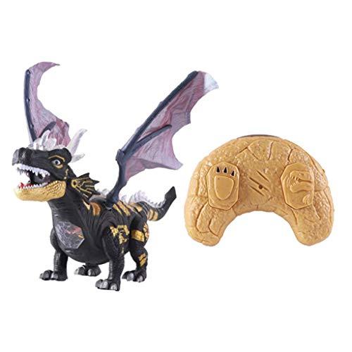 VANKOA RC Ferngesteuerter Dinosaurier Drache Tierspielzeug mit Raucheffekt, Licht und Geräuschen für Kindergeburtstag - Schwarz