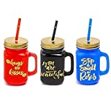 HOME CRAF Glass Color Mason Jar with Lid & Straw | Coco | Mason Jar with Lid and Re-Usable Straw Mugs for Juice | Moctail | Shakes | Drinks with Handle (450 Ml Set of 3)