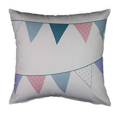 Funda de cojín con banderas, para habitación infantil, algodón, idea de regalo, 50 x 50 cm, color blanco, azul claro, azul y rosa
