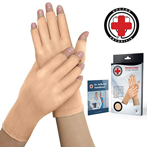 Doctor Developed Nude Arthritis Gloves/Skin Gloves and Doctor Written Handbook - for Arthritis, Raynauds Disease & Carpal Tunnel (One Pair) (Open-fingertips, Small)