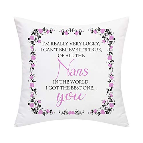 BLEUM CADE Mothers' Day Throw Pillow Cover I GOT The Best NAN in The World Pillow Cover Decorative Pillowcases for Moms Grandmas Sofa Couch Chair Office Car