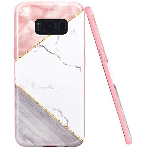 JAHOLAN Galaxy S8 Case Geometric Pink White Marble Design...
