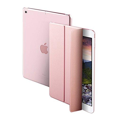 NALIA Smart-Case Hülle kompatibel mit iPad Pro 10,5 Zoll, Ultra-Slim Cover Dünne Tablet Schutzhülle, Kunst-Leder Hardcase Ständer, Display-Schutz & Backcover Flip-Case Klapphülle, Farbe:Rose Gold