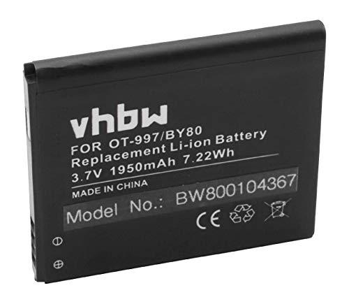 vhbw Akku kompatibel mit Alcatel One Touch OT-997, OT-997D, OT-998, Pop C5, Pop C5 Dual Handy Smartphone Handy (1950mAh, 3,7V, Li-Ion)