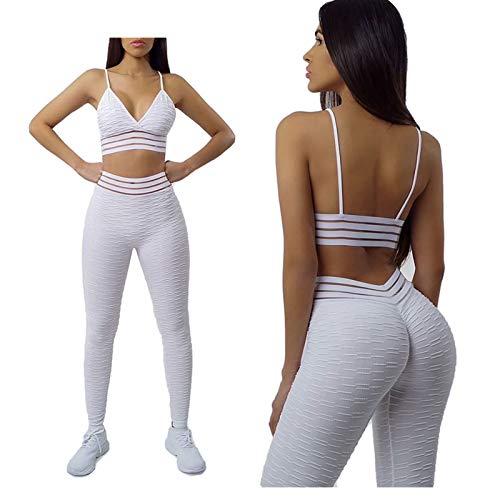 Conjunto de Entrenamiento Sexy Mujer de 2 Piezas, Sujetador Deportivo+Pantalones de Fitness de Yoga de Cintura Alta/Monos chándales,para Conjunto de Ropa de Gimnasio (Color : Blanco, Size : Medium)