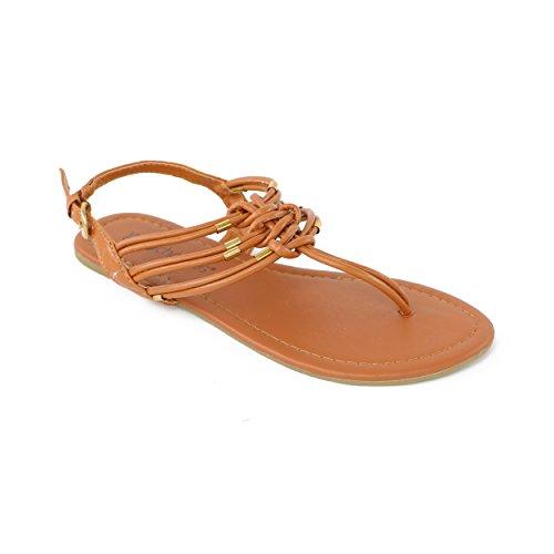 Chatties Women's Rope T-Strap Sandal (9/10 M US Womens, Brown)
