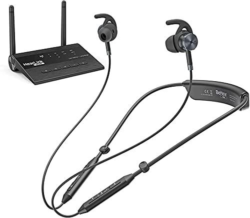 BeHear Now Wireless TV Headphones, Personalized Sound for TV Watching, w/Bluetooth Long Range Transmitter, aptX Low Latency