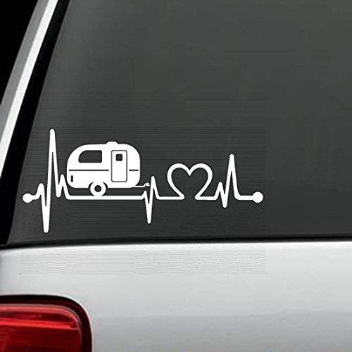 Bluegrass Decals F1026 Camper Travel Trailer Heartbeat Lifeline Decal Sticker (White)