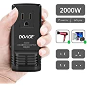 DOACE Universal Travel Power Adapter 2000W Voltage Converter 220V to 110V with All in One UK/AU/US/EU Worldwide Plug Wall Charger Over 200 Countries for Hair Dryer Steam Iron Laptop MacBook