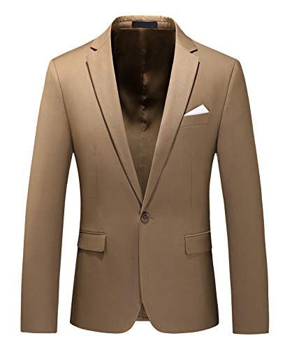 Men's Slim Fit Casual One Button Notched Lapel Turn-Down Collar Blazer Jacket US Size 40 (Label Size 4XL) Khaki
