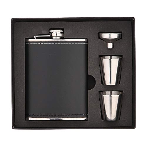 NARCE 8oz Stainless Steel Flask Funnel Set | Heavy Duty Flask Set Gift Set Includes 2 Camping Cup,Funnel and Gift Box| PROVEN GIFT For Men or Women (Black, 8 oz / 236 ml)
