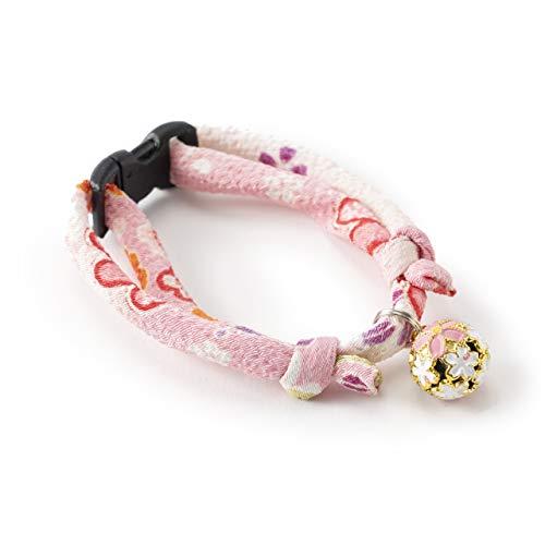 猫用首輪 ちりめん桜 (桜色)