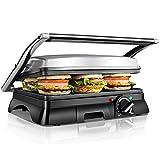 Aigostar Samson 30KLU – Grill, parrilla, panini, 2000W, sandwichera con tapa flotante. placas antiadherentes grandes...
