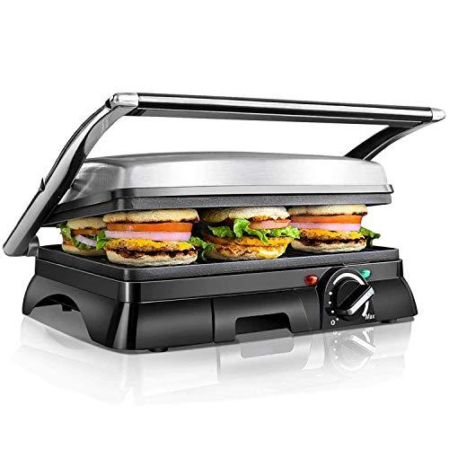 Kontaktgrill,XXL Low Fat Grill,Sandwich Maker,Steak Grill 2000 Watt, antihaft beschichtetes Edelstahl, 180 Grad aufklappbar, Temperaturkontrolle