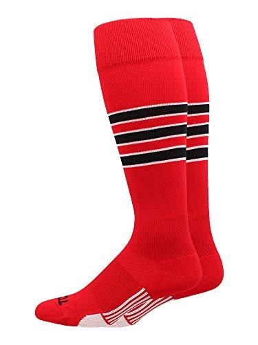MadSportsStuff Dugout Baseball-Socken, 3 Streifen, über die Wadenlänge (mehrere Farben), Jungen, Scharlachrot / Schwarz / Weiß, Large