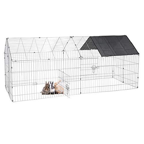ECD Germany Freilaufgehege mit Sonnenschutz für Kleintiere 180 x 74 x 75 cm, Freigehege aus Metall verzinkt, Auslauf für Kaninchen, Meerschweinchen und Hühner, Kleintiergehege Laufstall Kaninchenstall