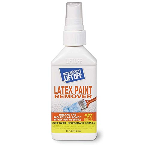 Motsenbockers Lift Off 41345 4.5-Ounce Latex Paint Remover Spray is Environmentally Friendly Safely Removes Latex Paint and Enamel and Works on Multiple Surfaces Water-Based and Biodegradable, Clear