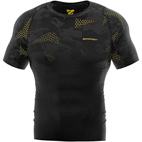 maglia crossfit uomo SMMASH Grid Maglia a Manica Corta Compression da Uomo Sport
