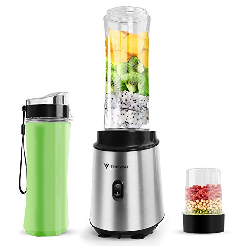 Blender 400 W Smoothies Mixer mit 2 BPA-freien 600 ml Flaschen, persönlicher Mixer für Zuhause, Silber