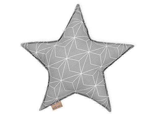 KraftKids Sternkissen weiße dünne Diamante auf Grau, 45 cm großes Kuschelkissen, Deko-Kissen für das Kinder-Zimmer
