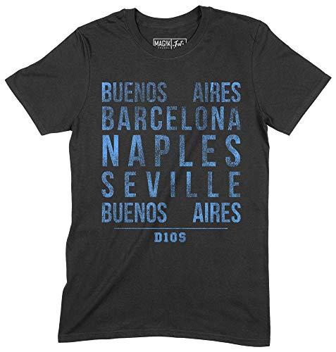 Unisex T-Shirt Maradona FUT Icons grafisches Baumwoll-T-Shirt, D10281, M, Schwarz