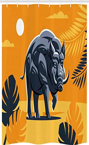 ABAKUHAUS Razorback Douchegordijn, Hog Boar Tropische Bladeren, voor Douchecabine Stoffen Badkamer Decoratie Set met Ophangringen, 120 x 180 cm, Orange Dark Violet Blue