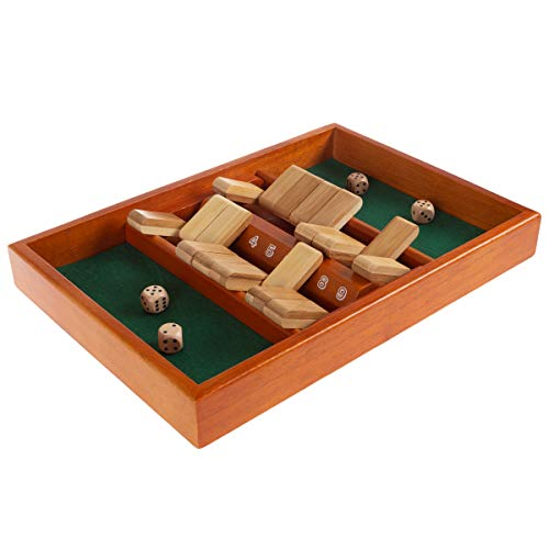 Shut The Box Game-Classic 9 Number Wooden Set with Dice Included-Old Fashioned, 2 Player Thinking...