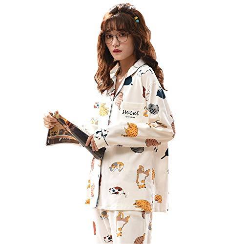 Madeinely Conjunto de pijama para mujer, térmico, de manga larga, de algodón, con estampado de manga larga, para habitación (color: foto color, talla: L)