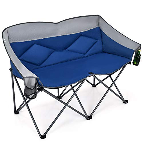 Goplus Loveseat Camping Chair, Double Folding Chair for Adults Couples w/Storage Bags & Padded High Backrest, Oversize Camp Seat for Fishing Picnic (Blue)