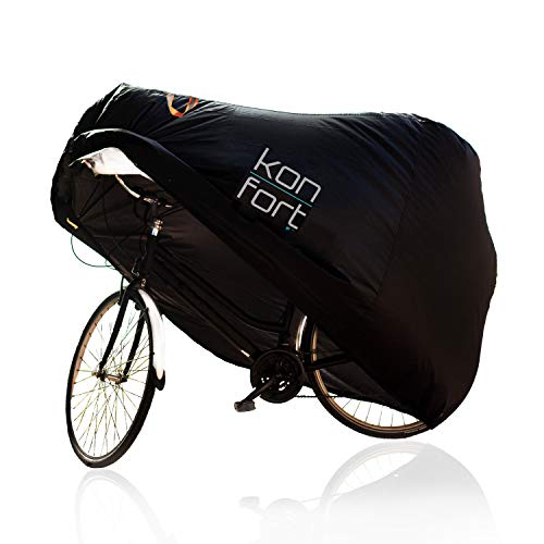 Kon-fort Funda Bicicleta Exterior Impermeable Tejido Oxford 210D Premium Protector para Lluvia Sol Polvo, para Montaña Carretera Incluye Bolsa de Transporte y Candado con Cable antirrobo