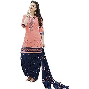 Cotton Embroidered Salwar Kameez Dupatta Stitched Dress Suit Set Women Dream Angel Fashion (Peach, Small)