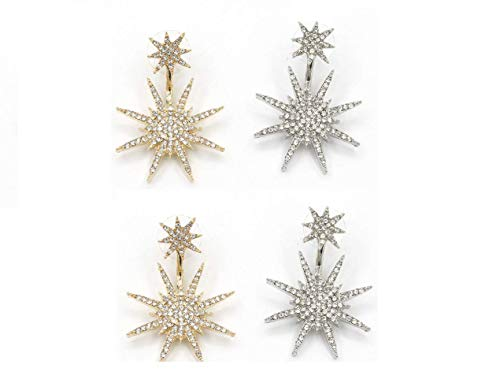 TQsuen Sparkling CZ Snowflake Stud Earrings, 2 Pairs Starburst Dangle Drop Earrings Crystal Star Stud Earrings for Party, Wedding and Prom, Gold and Silver